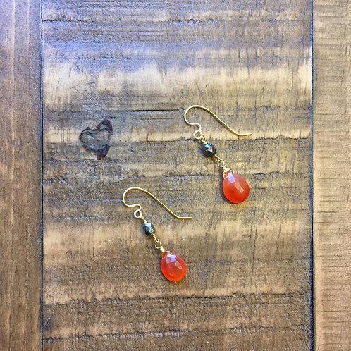carnelian briolette french hook gold earrings