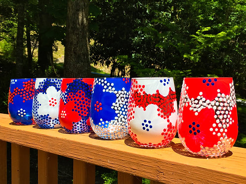 red, white + bleu stemless wine glasses