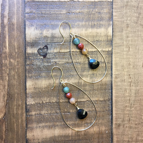 gold egg-drop gemstone earrings - with black swarovski crystal