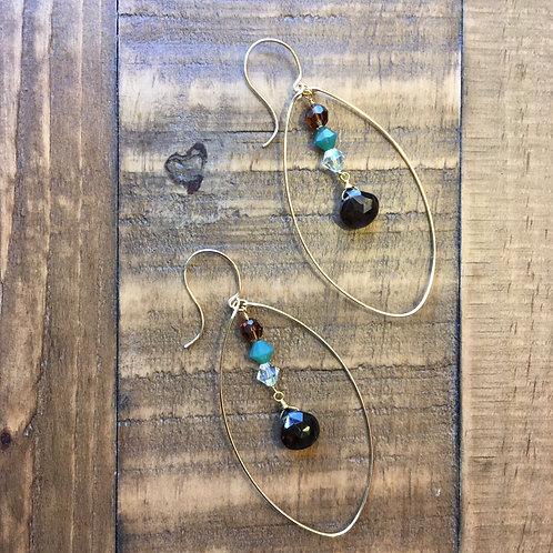 gold egg-drop smokey quartz + crystal french hook earrings