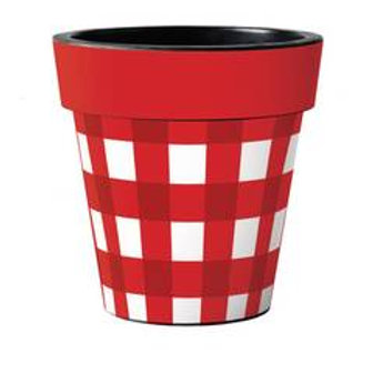Red/White Check Art Pot 12in