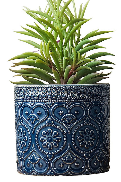 SUCCULENT BLUE EMBOSSED ROUND 3INCH POT