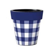 Blue/White Check Art Pot 15in