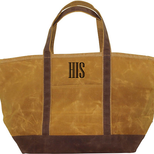 His wax canvas tote