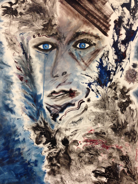 "#10 Blue-Eyed Series 22"" x 30"" SOLD"