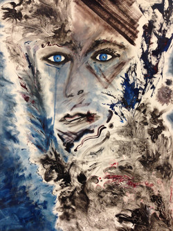 """#10 Blue-Eyed Series 22"""" x 30"""" SOLD"""