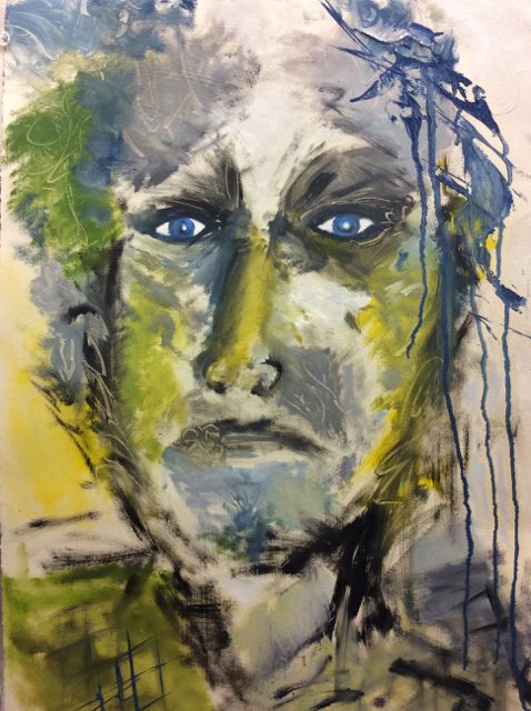 """#2 Blue-Eyed Series 15"""" x 22"""" SOLD"""