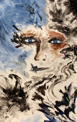 """SOLD #5 Blue-Eyed Series 15"""" x 22"""""""