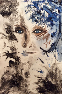 """#6 Blue-Eyed Series 15"""" x 22"""" SOLD"""