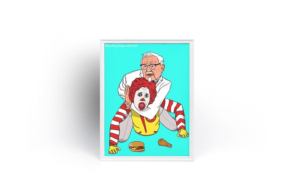 KFC v McDonalds Poster print