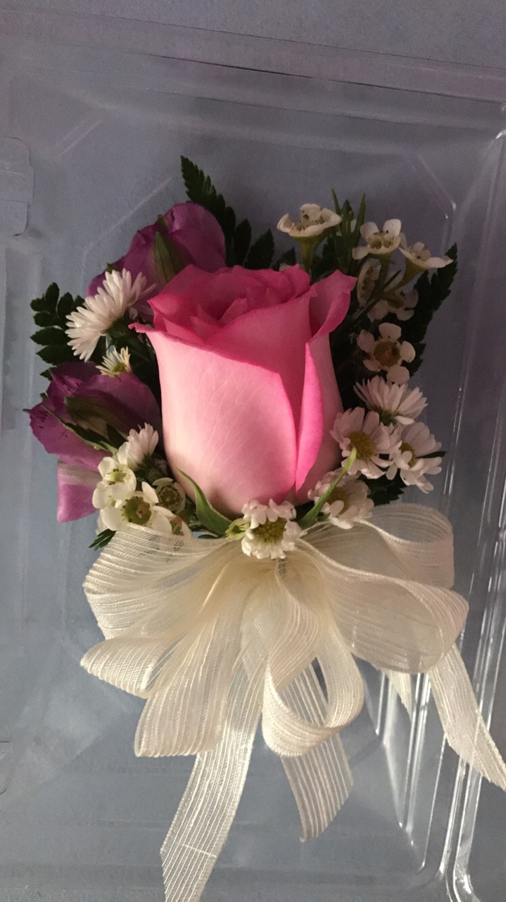 Pink and purple pin-on corsage