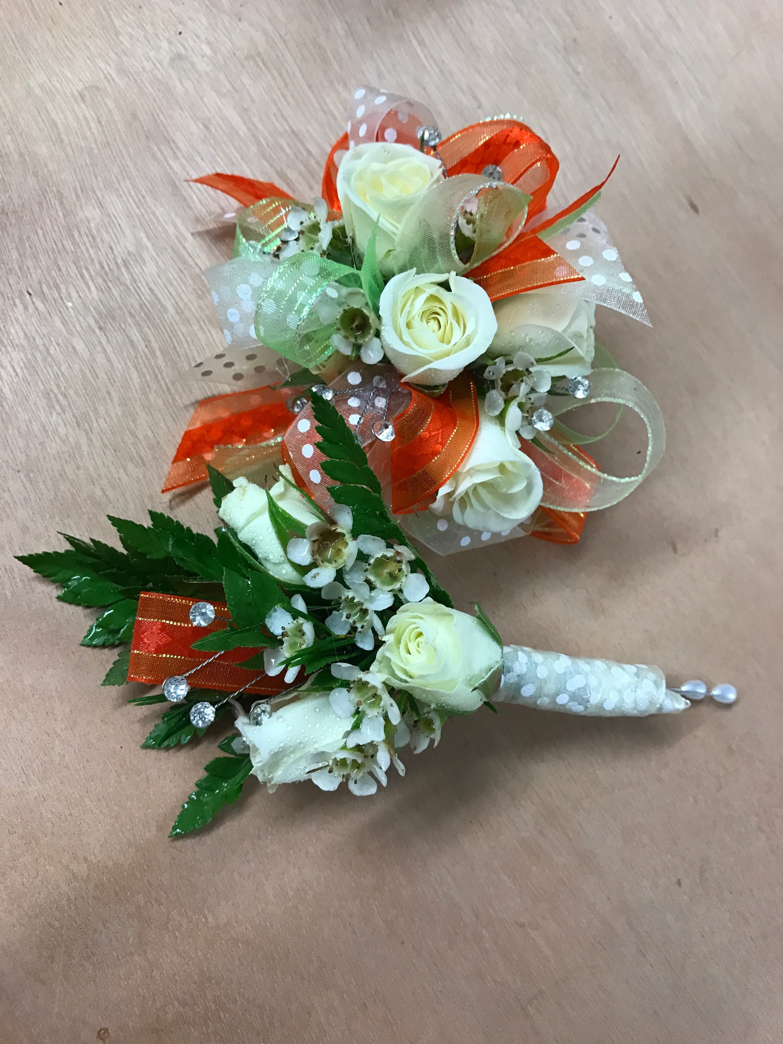 Prom corsage and matching bout