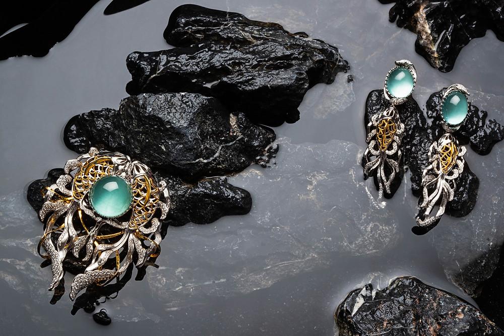 fine jewellery, aquamarine, diamonds and gold, imperial, Chinese