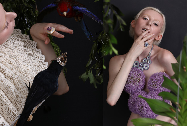 Buccellati ring from celebration collection and Chopard the red carpet collection