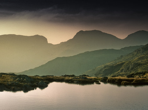 The Scafells from Bowfell Tarn, Lake District, Cumbria