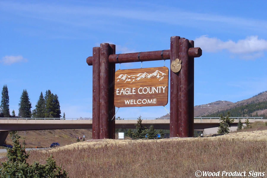 Custom log work for the Eagle County Entrance Sign​