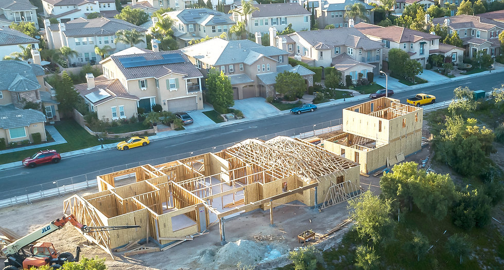 Aerial picture of construction real estate taken with a drone