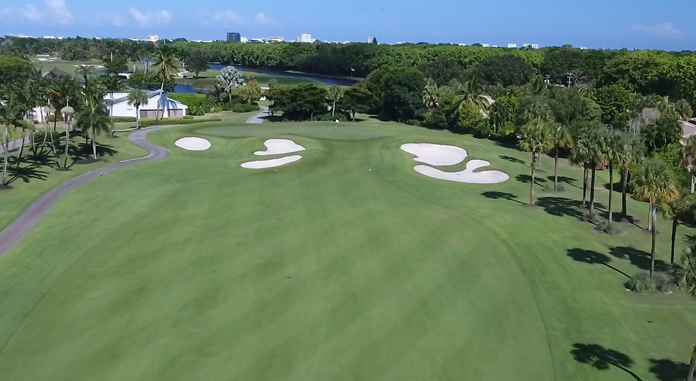 Aerial picture of gol course taken wih a drone