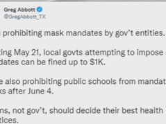 📺 No More Masks! TX Governor Signs Bill Banning Government Imposed Mask Mandates