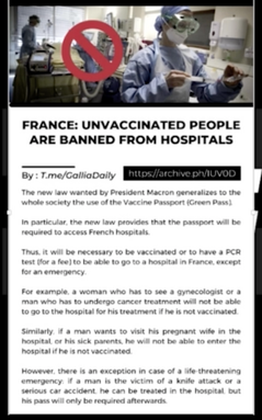France: Unvaccinated BANNED From Hospitals!