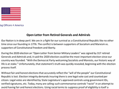 """🚨120 Retired Generals, Officers Sign Letter Warning US is Embroiled in an """"Dire, Existential Fight"""""""