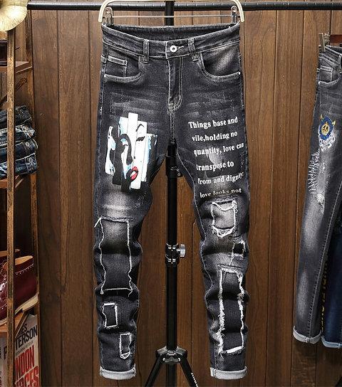 Black Biker Ripped Jeans for Men Skinny Spijkerbroeken Heren