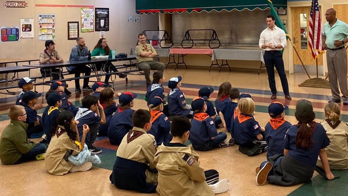 Then-Rep. Jared Mead with Rep. John Lovick visiting scouts