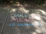 Kids chalk up support for Jared Mead