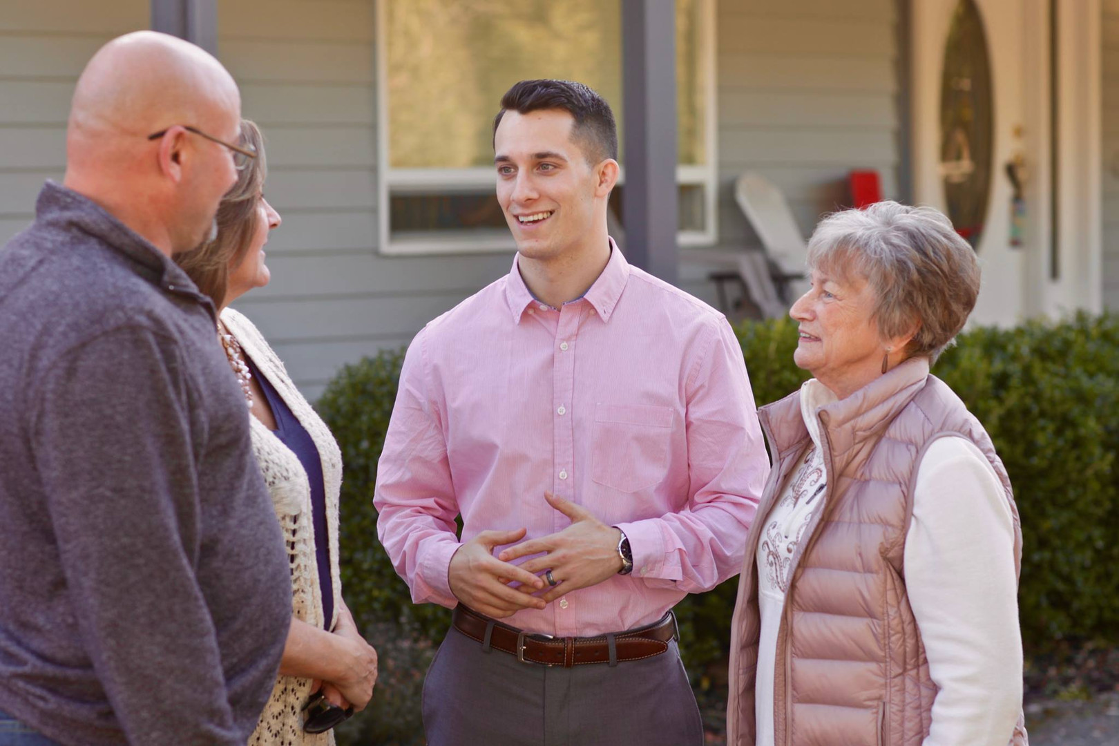 Jared Mead with supporters in Mill Creek