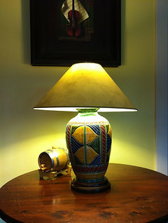 Carved and glazed ceramic lamp by Richard