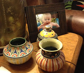 Baby vases and jar by Cathra-Anne Barker