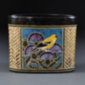 Backyard Birds Oval Vase - Goldfinch side