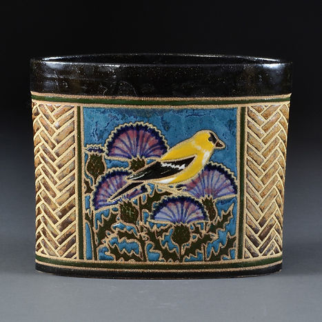 Backyard Birds Oval Vase - Goldfinch side