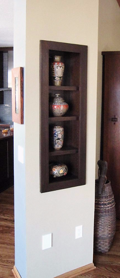 Cathra-Anne's Northwoods Vase, Yucca Jar, Gems of the Ocean Vase and Tulips Vase in Steve Betz's home