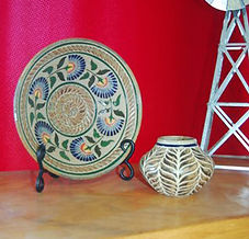 Scottish Thistle Platter and Basket Weave Seed Jar