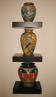 Cathra-Anne's Kimono, Forest Floor, and Eyes of Texas Vases
