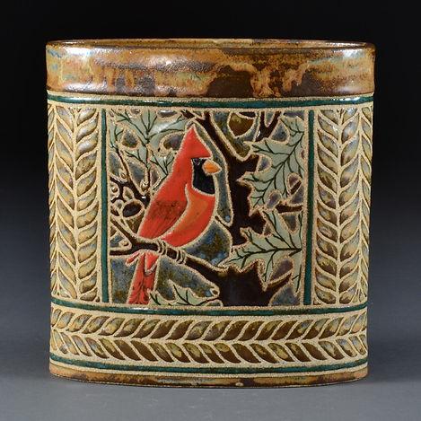 Backyard Birds Oval Vase - Cardinal in Oak
