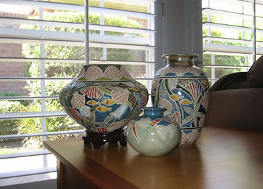 Cathra-Anne's Gems of the Ocean and Dragonfly vases