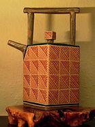Cathra-Anne's Rattan Square Teapot in Dee and Al's California home