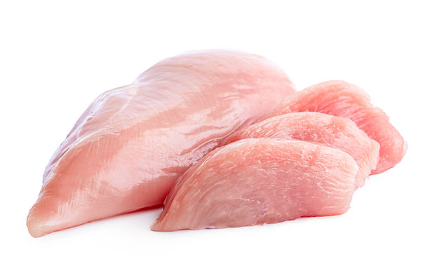 Three slices of uncooked boned chicken b