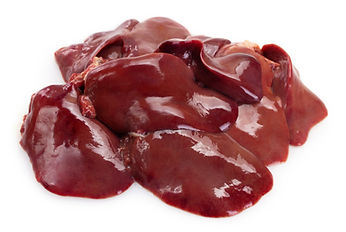 raw chicken livers isolated on white bac
