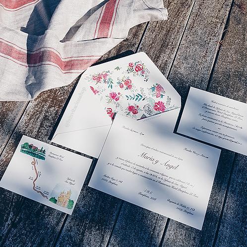 Faire-part de mariage handpainted