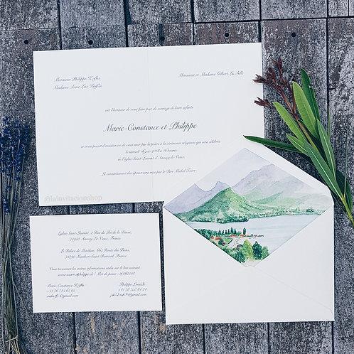 Faire-part de mariage aquarelle