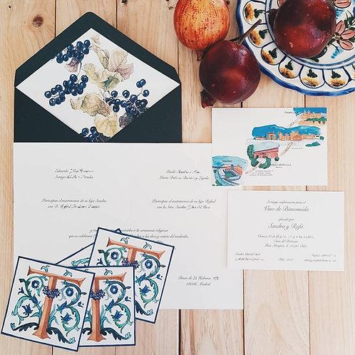 Invitaciones de boda vino