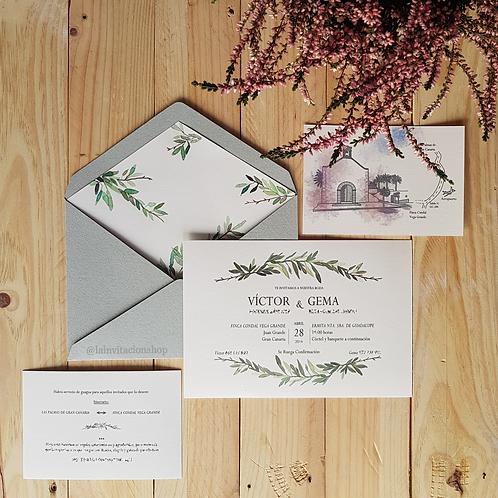 Invitaciones de boda tarjetería con acuarela