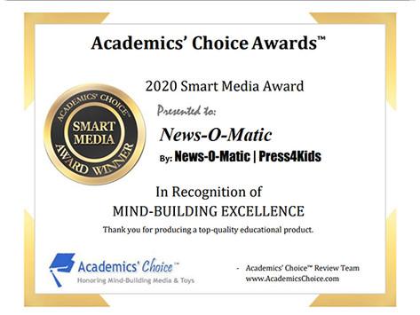 News-O-Matic Honored with Summer 2020 Academics' Choice Smart Media Award