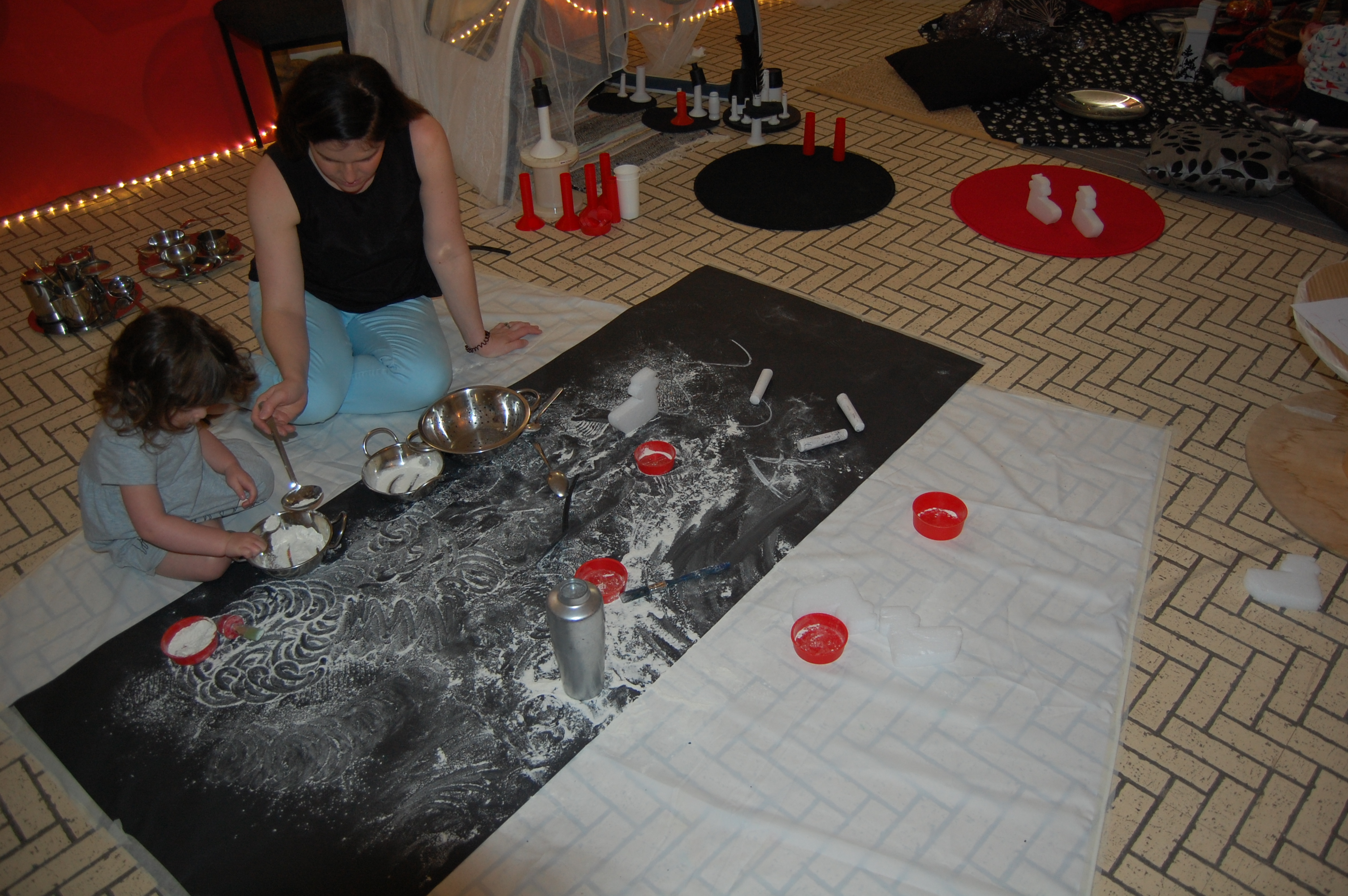 mark-making with flour
