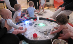 water play with underwater torches