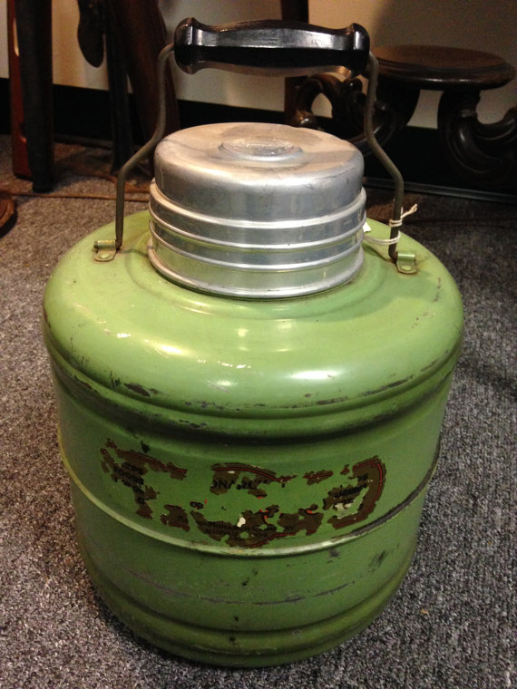 Large antique carry thermos