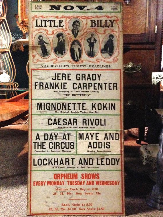 1912 Vintage Vaudeville Ad Poster